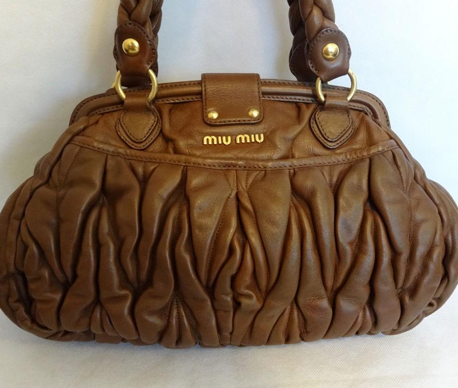 Miu Miu noce brown matelasse nappa leather coffer lock frame bag ...
