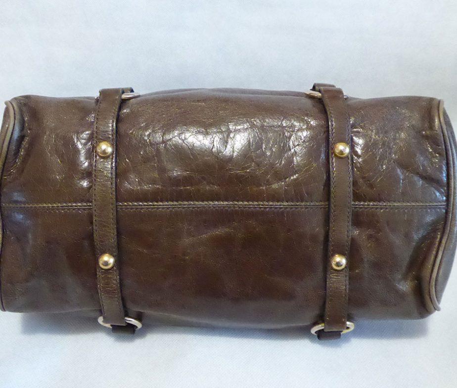45a5b9d9eec0 Miu Miu khaki glazed calfskin leather mini bow shoulder bag - Labels ...