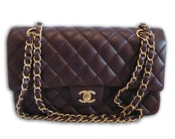 51d8918eff Chanel chocolate brown lambskin leather medium 10″ classic flap shoulder bag