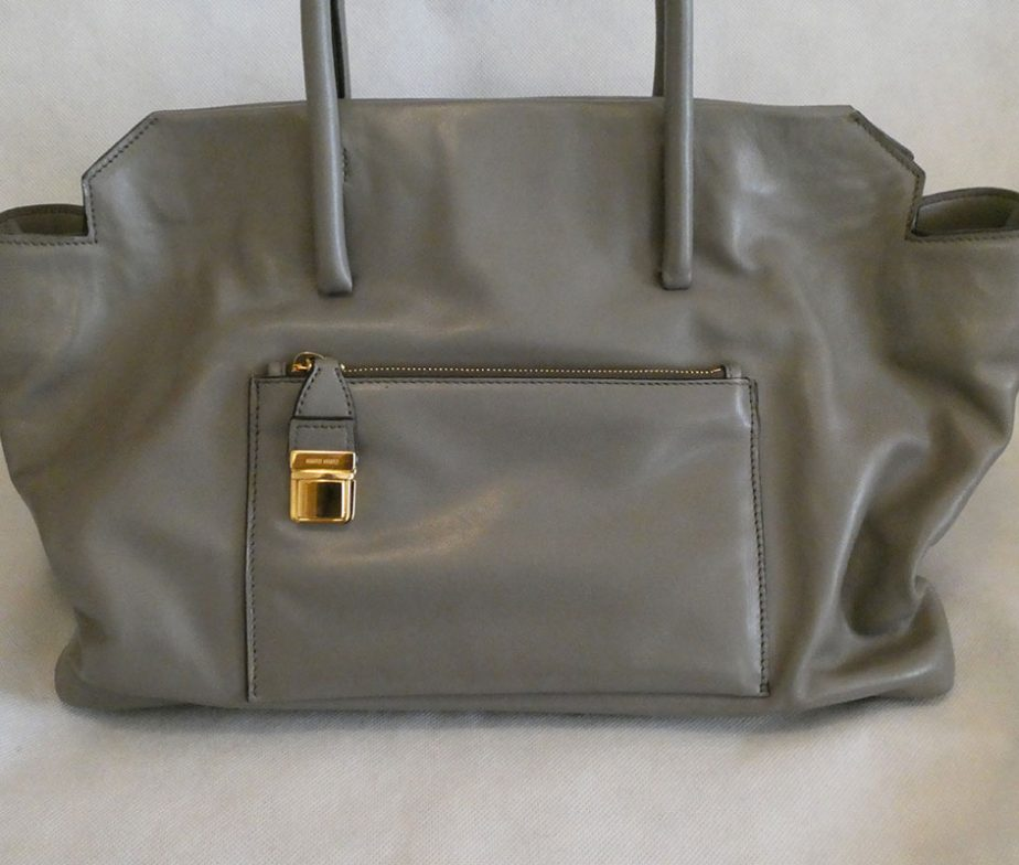 9751a43b7feb Miu Miu RN1077 argilla clay grey soft vitello leather large shopping tote  shoulder bag ...