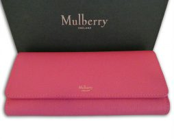 Mulberry candy pink small classic grain leather continental wallet purse f1b5b3c568931