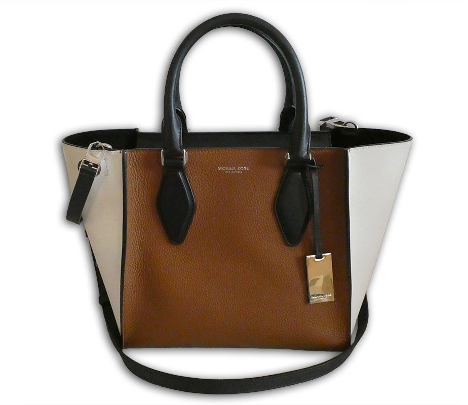 5dcfdab4ddea Michael Kors Collection luggage tan, black and white leather medium gracie  tote ...