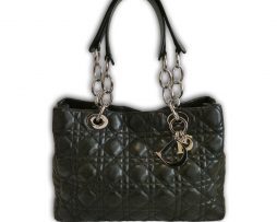 f2ffc301a6 Christian Dior Lady Dior black quilted leather soft small shoulder tote  shopper bag & receipt