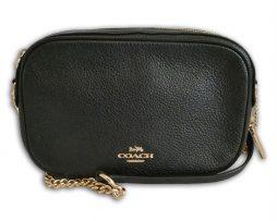 344b2621ddfe94 Coach F29000 black pebbled leather isla chain crossbody bag & receipt