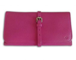 8a1c8285d7 Mulberry pink glossy goat leather jewellery roll holder & receipt