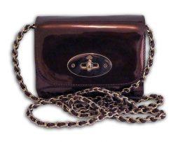 40c303872f Mulberry oxblood mirror metallic leather mini lily crossbody shoulder bag &  receipt