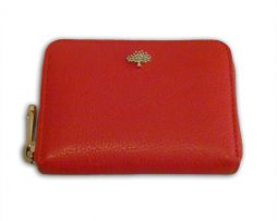 daafe791e1 Mulberry fiery spritz red small classic grain leather tree zip around purse  wallet & receipt